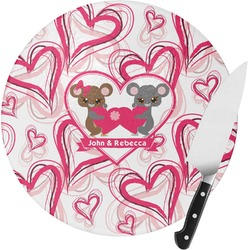 Valentine's Day Round Glass Cutting Board - Small (Personalized)