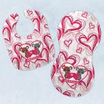 Valentine's Day Baby Bib & Burp Set w/ Couple's Names