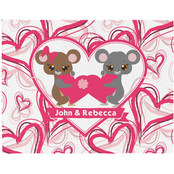 Valentine's Day Woven Fabric Placemat - Twill w/ Couple's Names