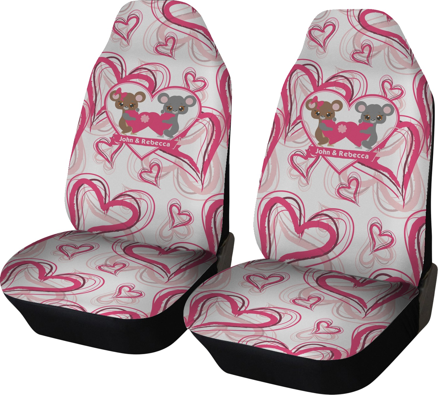 Valentines Day Car Seat Covers Set Of Two Personalized