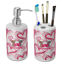 Valentine's Day Bathroom Accessories Set (Ceramic) (Personalized)