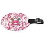 Valentine's Day Genuine Leather Oval Luggage Tag (Personalized)