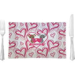 Valentine's Day Rectangular Glass Lunch / Dinner Plate - Single or Set (Personalized)