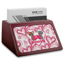 Valentine's Day Red Mahogany Business Card Holder (Personalized)