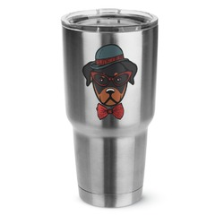 Hipster Dogs 30 oz Silver Stainless Steel Tumbler w/Full Color Graphics (Personalized)