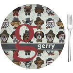 "Hipster Dogs Glass Appetizer / Dessert Plates 8"" - Single or Set (Personalized)"