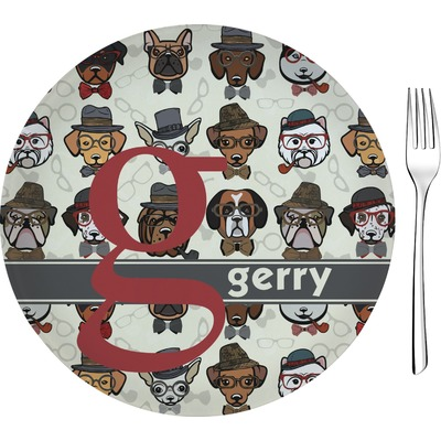 """Hipster Dogs 8"""" Glass Appetizer / Dessert Plates - Single or Set (Personalized)"""