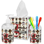 Hipster Dogs Acrylic Bathroom Accessories Set w/ Name and Initial
