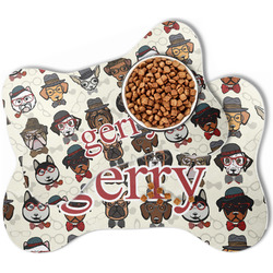 Hipster Dogs Bone Shaped Dog Food Mat (Personalized)