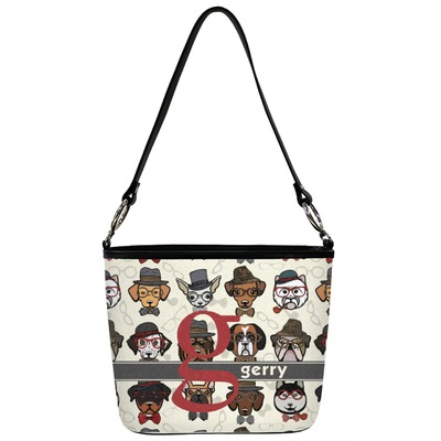 Hipster Dogs Bucket Bag w/ Genuine Leather Trim (Personalized)