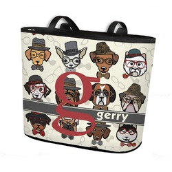Hipster Dogs Bucket Tote w/ Genuine Leather Trim (Personalized)
