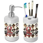 Hipster Dogs Bathroom Accessories Set (Ceramic) (Personalized)