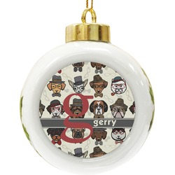 Hipster Dogs Ceramic Ball Ornament (Personalized)