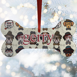 Hipster Dogs Ceramic Dog Ornaments w/ Name and Initial