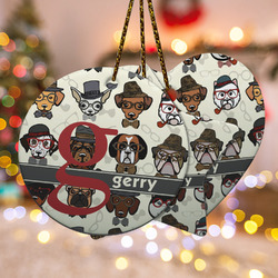 Hipster Dogs Ceramic Ornament w/ Name and Initial