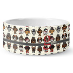 Hipster Dogs Ceramic Dog Bowl (Personalized)