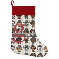 Hipster Dogs Holiday Stocking w/ Name and Initial