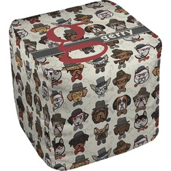Hipster Dogs Cube Pouf Ottoman (Personalized)