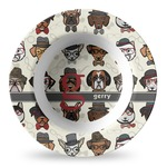 Hipster Dogs Plastic Bowl - Microwave Safe - Composite Polymer (Personalized)