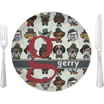 "Hipster Dogs Glass Lunch / Dinner Plates 10"" - Single or Set (Personalized)"