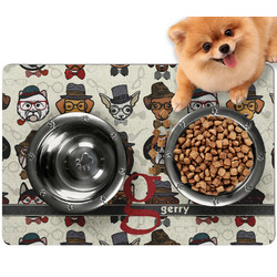 Hipster Dogs Dog Food Mat - Small w/ Name and Initial