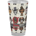 Hipster Dogs Drinking / Pint Glass (Personalized)