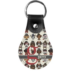 Hipster Dogs Genuine Leather  Keychain (Personalized)