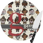 Hipster Dogs Round Glass Cutting Board (Personalized)