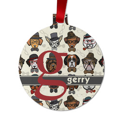 Hipster Dogs Metal Ornaments - Double Sided w/ Name and Initial