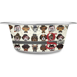 Hipster Dogs Stainless Steel Pet Bowl (Personalized)
