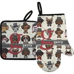 Hipster Dogs Oven Mitt & Pot Holder Set w/ Name and Initial