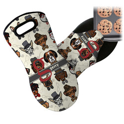 Hipster Dogs Neoprene Oven Mitts w/ Name and Initial
