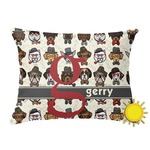 Hipster Dogs Outdoor Throw Pillow (Rectangular) (Personalized)