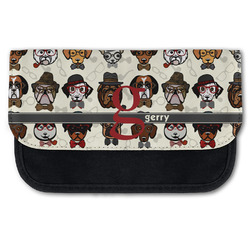 Hipster Dogs Canvas Pencil Case w/ Name and Initial