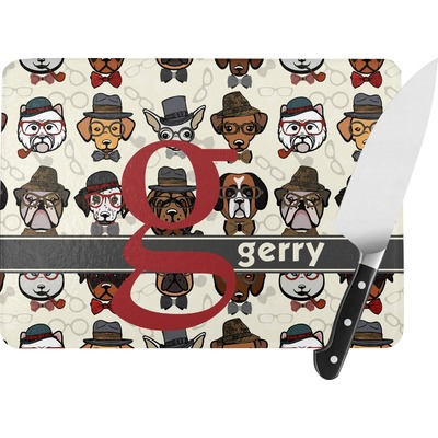 Hipster Dogs Rectangular Glass Cutting Board (Personalized)