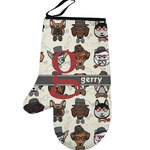 Hipster Dogs Left Oven Mitt (Personalized)