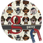 Hipster Dogs Round Magnet (Personalized)