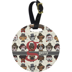 Hipster Dogs Round Luggage Tag (Personalized)
