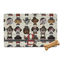 Hipster Dogs Pet Bowl Mat (Personalized)