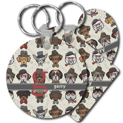 Hipster Dogs Plastic Keychains (Personalized)
