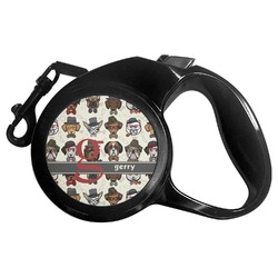 Hipster Dogs Retractable Dog Leash - Multiple Sizes (Personalized)