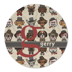 Hipster Dogs Round Linen Placemat (Personalized)