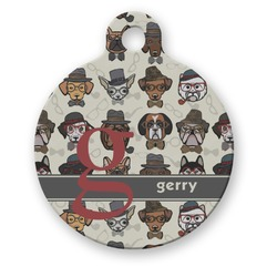 Hipster Dogs Round Pet Tag (Personalized)