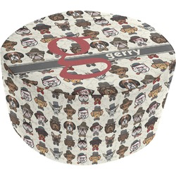 Hipster Dogs Round Pouf Ottoman (Personalized)