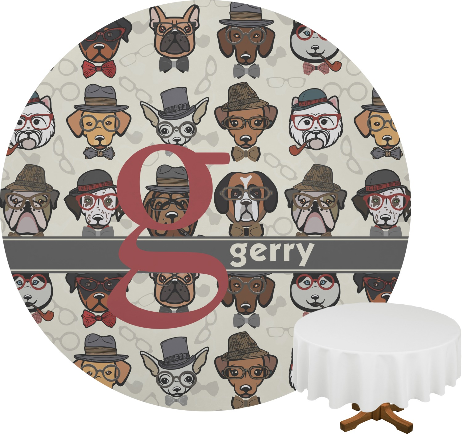 Hipster Dogs Round Tablecloth Personalized