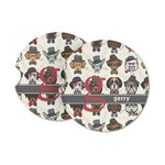 Hipster Dogs Sandstone Car Coasters (Personalized)