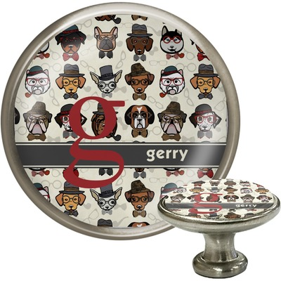 Hipster Dogs Cabinet Knob (Silver) (Personalized)