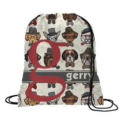 Hipster Dogs Drawstring Backpack - Large (Personalized)
