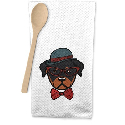 Hipster Dogs Waffle Weave Kitchen Towel (Personalized)