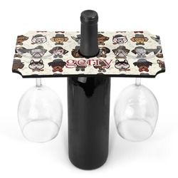Hipster Dogs Wine Bottle & Glass Holder (Personalized)